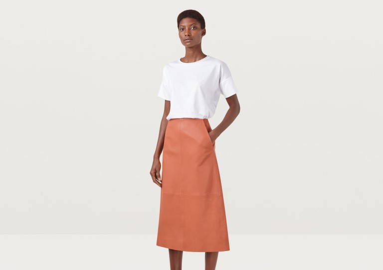 Finery Hector Rust Leather A-Line Skirt