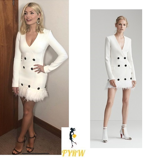 Holly Willoughby Brits 2018 outfit white feather fringed coat dress