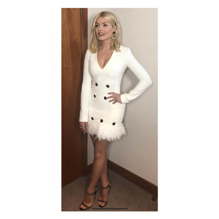 Holly Willoughby Brits 2018 outfit white frimged coat dress