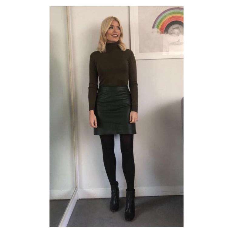 Holly Willoughby outfit blog brown poloneck black leather skirt black ankle booots This Morning February 2018