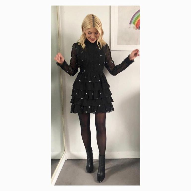 Holly Willoughby outfit This Morning black ruffle dress february 2018