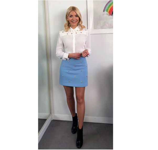 Holly willoughby outfit white shirt light blue mini skirt black ankle boots This Morning
