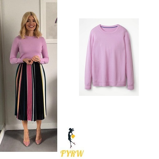 Holly willoughby This Morning outfit pink jumper striped pleated skirt nude shoes February 2018