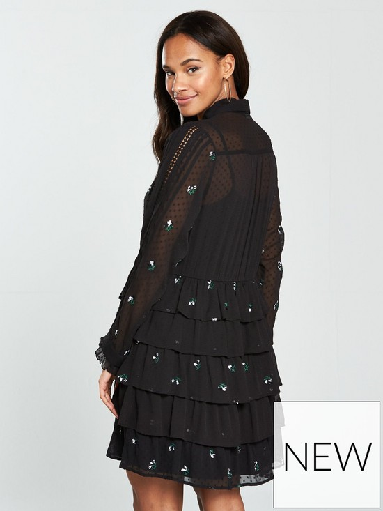 V by Very Embroidered Shirt Dress back view