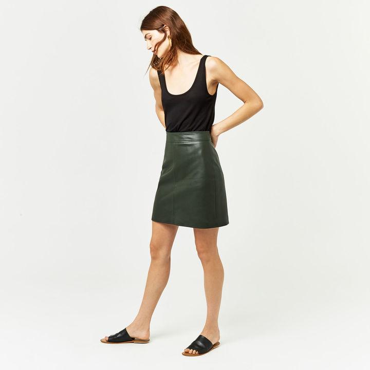 Warehouse Faux Leather A-line Mini Skirt khaki