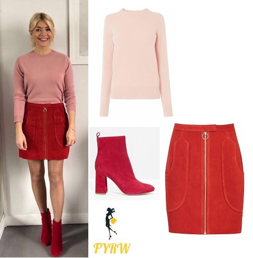 e5863efee Holly Willoughby This Morning outfit pink jumper red suede skirt red suede  boots MArch 2018