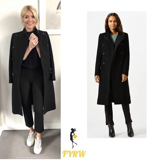 Holly Willoughby This Morning outfit black coat trousers and top white trainers with gold star MArch 2018