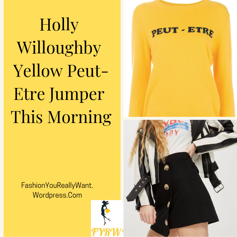 Holly Willoughby This Morning outfit blog yellow Peut Etre jumper black button skirt black ankle boots March 2018