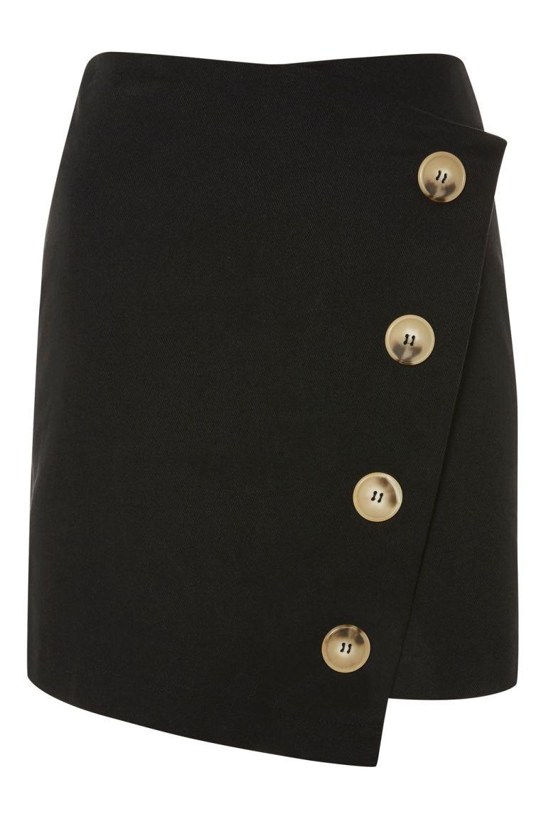 TopshopTwill Asym Wrap Skirt