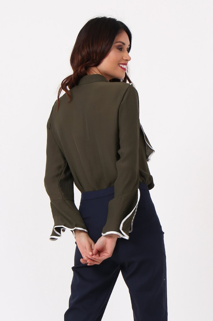 10Store Contrast Frill Blouse back view