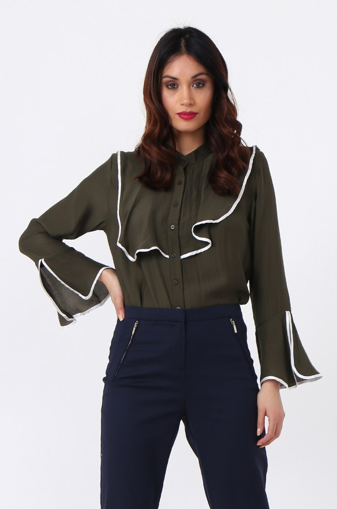 10Store Contrast Frill Blouse