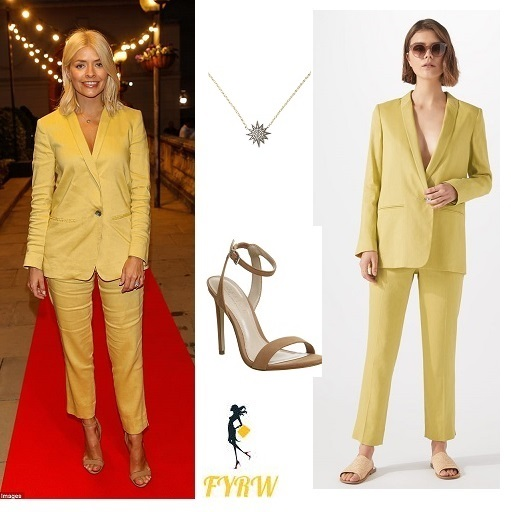 Holly willoughby outfit yellow trouser suit nude sandals star necklace