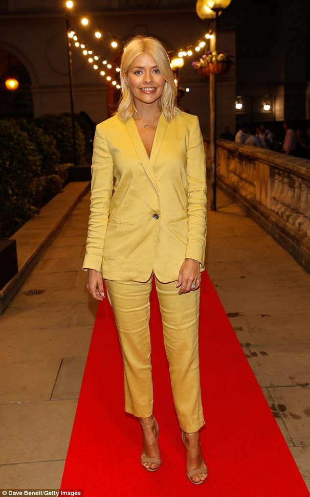 Holly willoughby outfit yellow trouser suit nude sandals star necklace April 2018