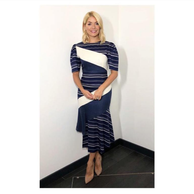 Holly Willoughby This Morning outfit style blue and white striped dress nude court shoes April 2018