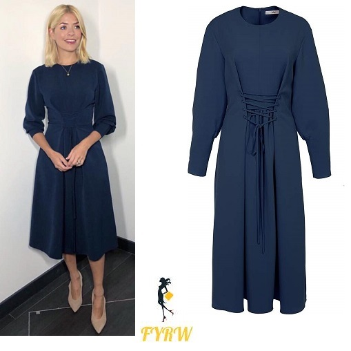 8dcfce88e4b Holly Willoughby This Morning outfit blue midi dress nude court shoes April  2018