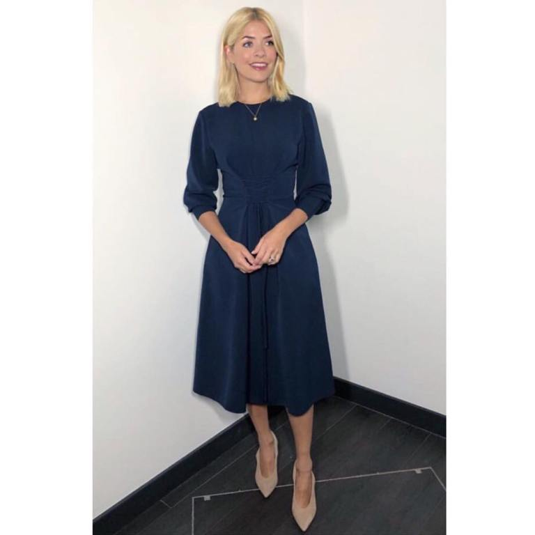 7ce8dfdea29fc Holly Willoughby This Morning outfit blue midi dress nude court shoes April  2018