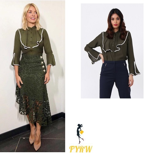 Holly Willoughby This Morning outfit green shirt with white trim green lace skirt nude court shoes April 2018