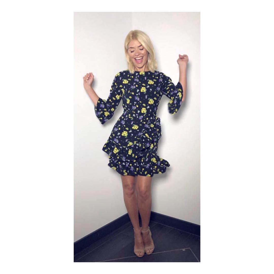 Holly Willoughby Black Floral Tea Dress This Morning April