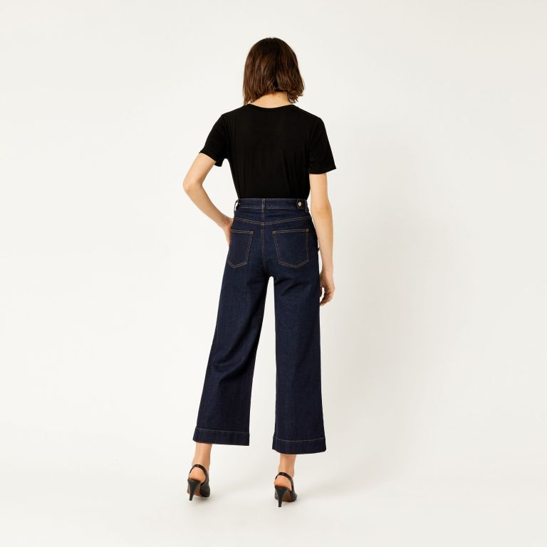 Warehouse Nautical Wide Leg Jeans back view