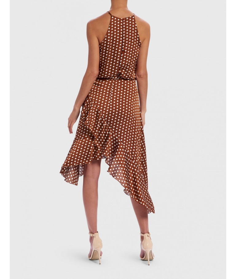 Forever Unique Tan And White Polka Dot Halter Neck Dress back view