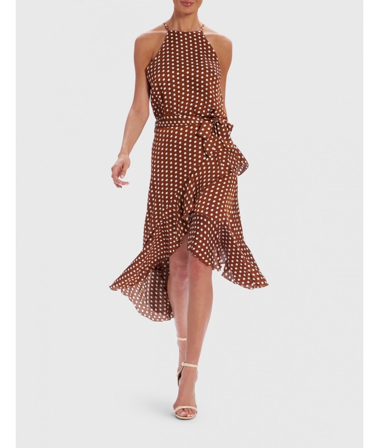 Forever Unique Tan And White Polka Dot Halter Neck Dress