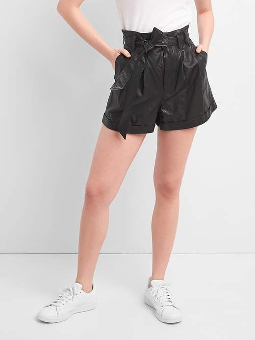 GapHigh Rise 3 Paper Leather Shorts