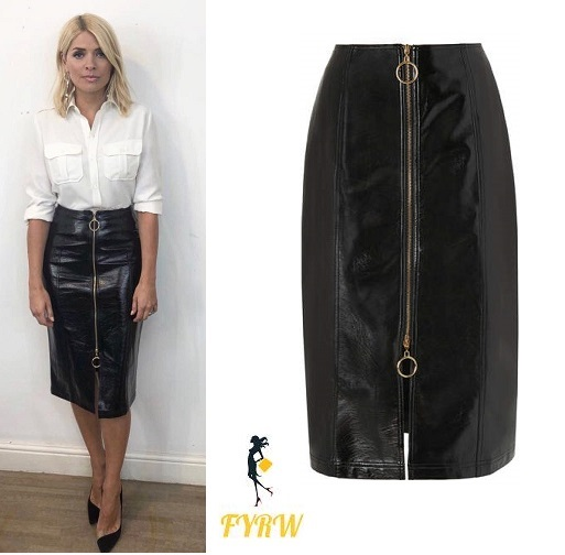 Holly Willoughby Celebrity Juice style white shirt black vinyl zip skirt May 2018