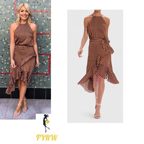 Holly Willoughby his morning outfit brown polka dot dress nude sandals May 2018