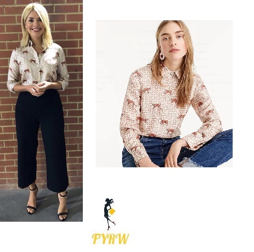 Holly Willoughby This Morning style tiger print shirt black trousers black sandal May 2018