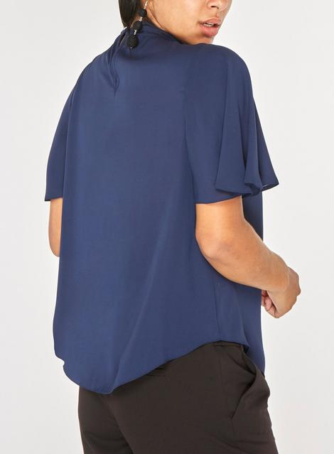 Dorothy Perkins Womens Navy Hannah Flutter Sleeve Blouse back view