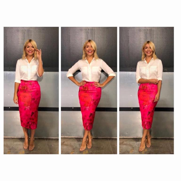 Holly Willoughby his Morning style outfit blog ivory shirt red floral satin skirt nude sandals June 2018