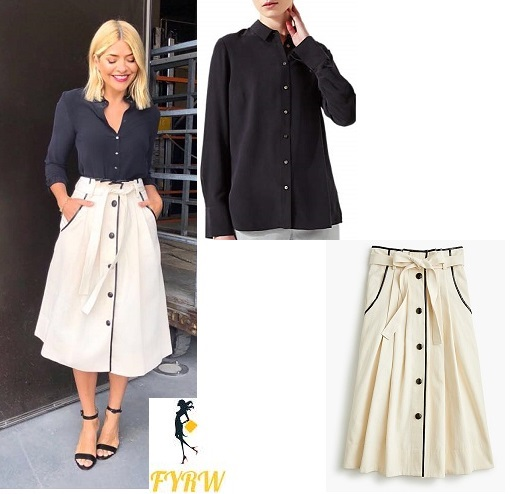 Holly Willoughby outfits blog This Morning style navy shirt cream button through skirt sandals June 2018