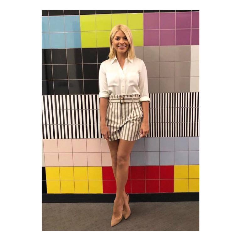 Holly Willoughby style This Morning outfit ivory shirt striped shorts nude court shoes June 2018