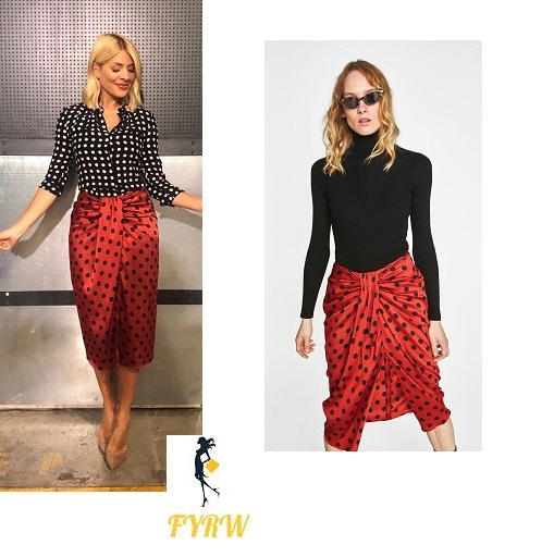 Holly Willoughby This Morning outfit style black and white polka dot shirt red polka dot skirt nude court shoes June 2018