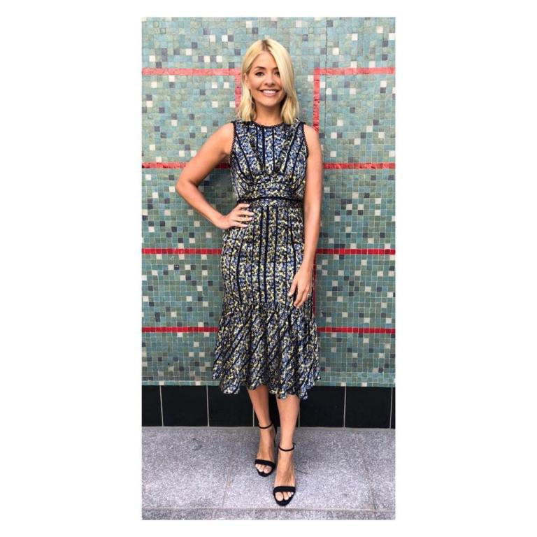 Holly Willoughby This Morning style outfit floral panelled dress black sandals June 2018