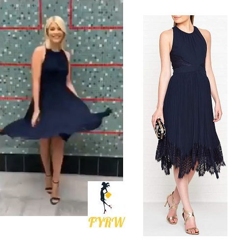 1b84f29fe156c Holly Willoughby This Morning style outfit Navy lace pleat dress black  sandals June 2018