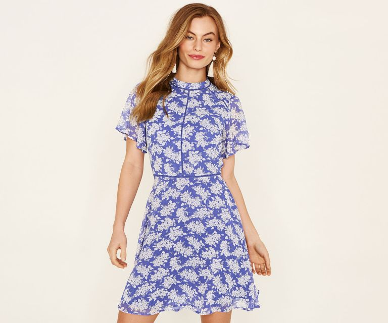 Oasis High Neck Ditsy Dress
