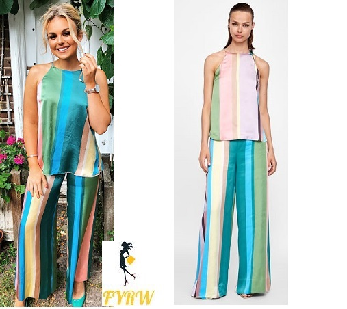 Tallia Storm blue multi striped halter top and trousers June 2018