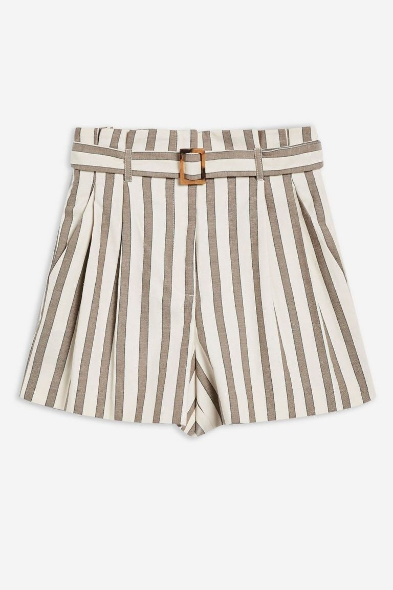 TopshopTaupe Striped Shorts