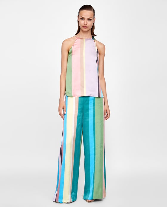Zara Striped Halter Top and trousers