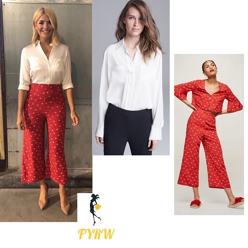 7d96d5c21ad2 Holly Willoughby style outfit This Morning red print cropped trousers white  shirt nude court shoes July