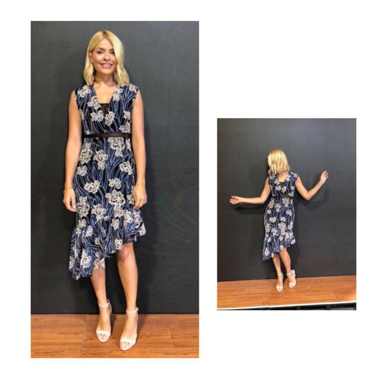 Holly Willoughby style outfit blog This Morning blue floral print dress white sandals July 2018
