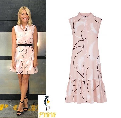 Holly Willoughby style outfit bog This Morning pink print dress black sandals July 2018 photo Angie Smith