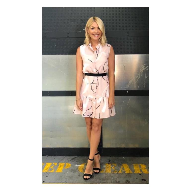 Holly Willoughby style outfit bog This Morning pink print dress black sandals July 2018