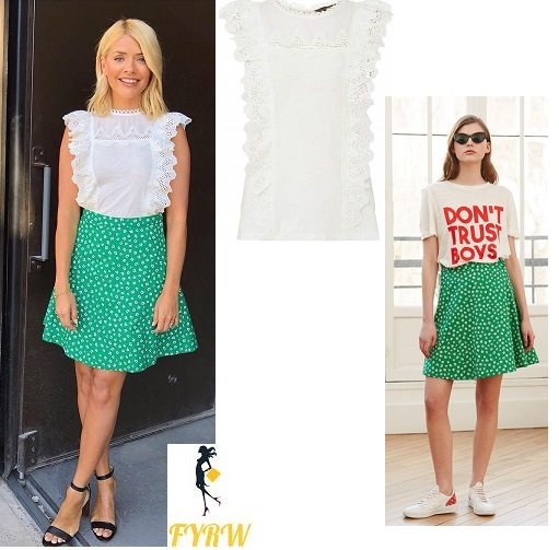 Holly willoughby style outfit This Morning white frill top green print skirt black sandals July 2018