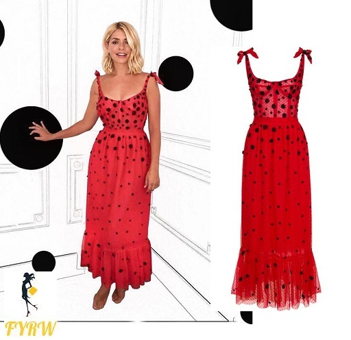 Holly Willoughby style red spotted tulle gown with black lace flower embellishment
