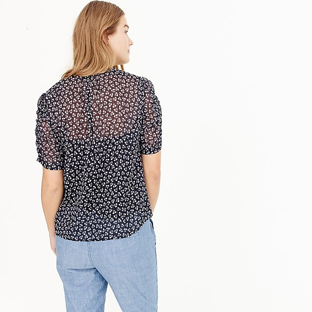 J CrewRuched-sleeve top in sparkle floral back view
