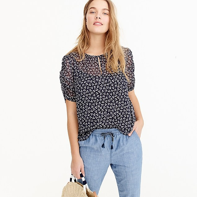 J CrewRuched-sleeve top in sparkle floral