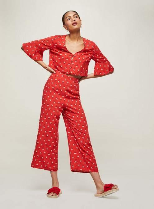 Miss SelfridgeRed print crop trousers