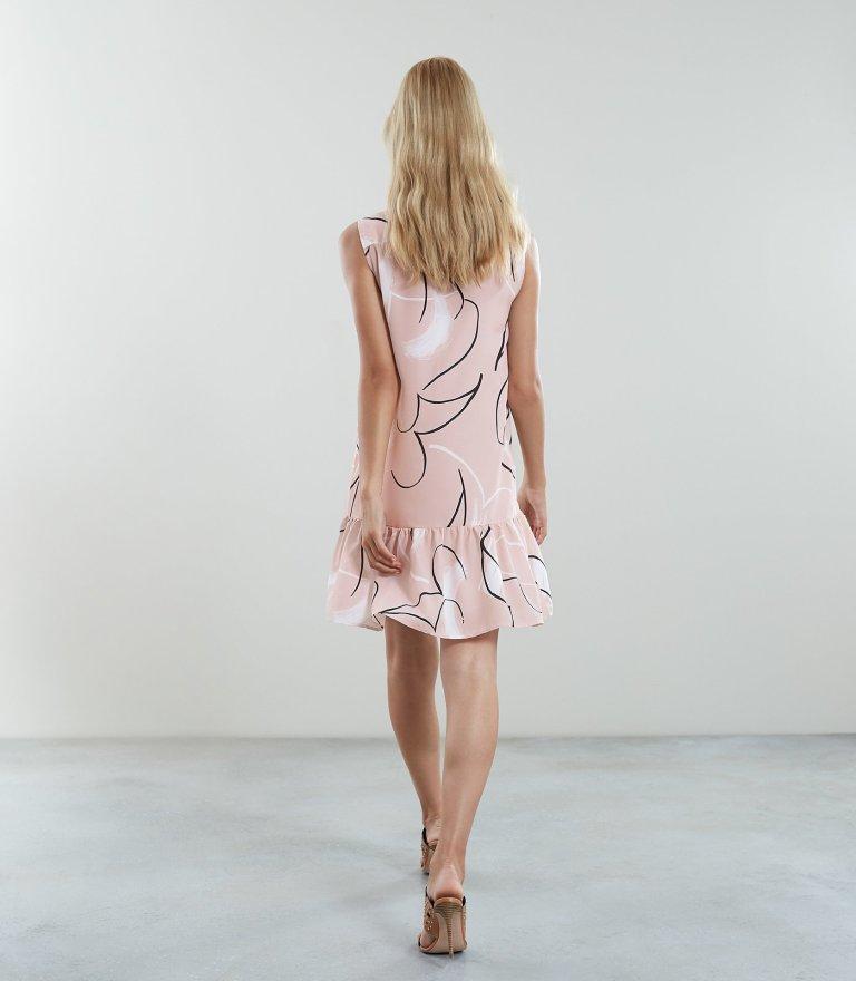 REISS Anastasia - Printed Drop Waist Dress back view